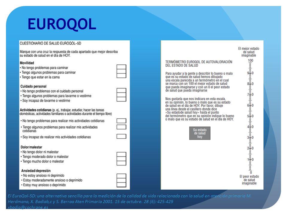 EUROQOL El EuroQol-5D: una alternativa sencilla para la medición de la calidad de vida relacionada con la salud en atención primaria M. Herdmana, X. B