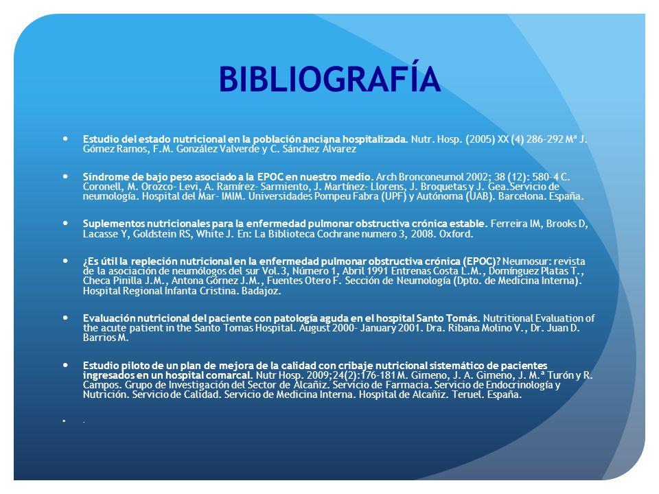 BIBLIOGRAFÍA Estudio del estado nutricional en la población anciana hospitalizada. Nutr. Hosp. (2005) XX (4) 286-292 Mª J. Gómez Ramos, F.M. González