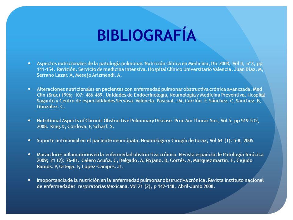 BIBLIOGRAFÍA Aspectos nutricionales de la patología pulmonar. Nutrición clínica en Medicina, Dic 2008, Vol II, nº3, pp 141-154. Revisión. Servicio de