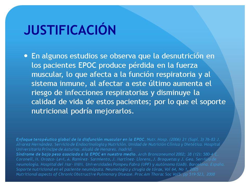 JUSTIFICACIÓN En algunos estudios se observa que la desnutrición en los pacientes EPOC produce pérdida en la fuerza muscular, lo que afecta a la funci