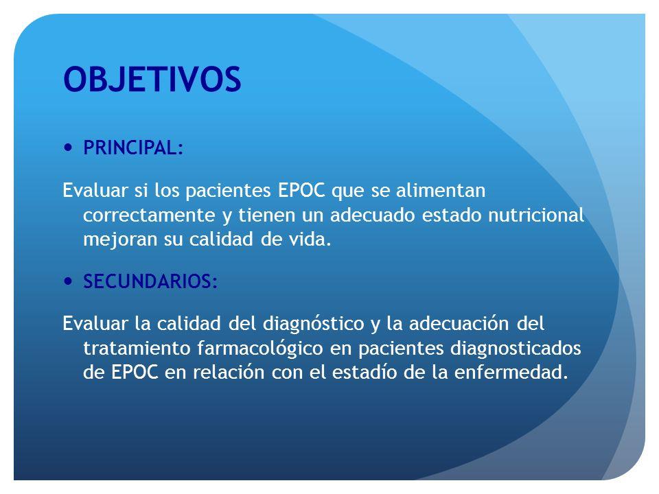 OBJETIVOS PRINCIPAL: Evaluar si los pacientes EPOC que se alimentan correctamente y tienen un adecuado estado nutricional mejoran su calidad de vida.