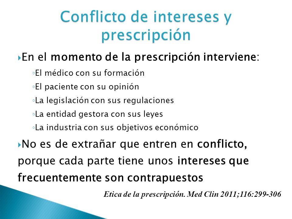 En el momento de la prescripción interviene: El médico con su formación El paciente con su opinión La legislación con sus regulaciones La entidad gest