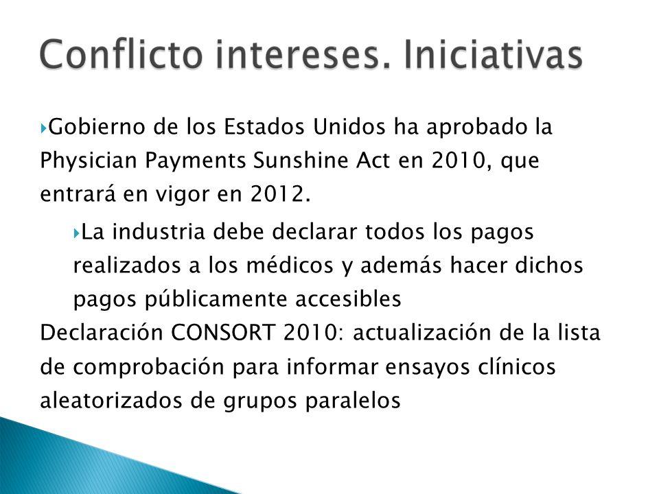 Gobierno de los Estados Unidos ha aprobado la Physician Payments Sunshine Act en 2010, que entrará en vigor en 2012. La industria debe declarar todos