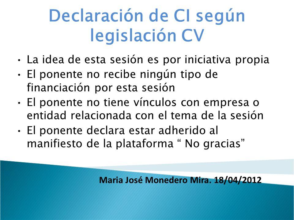 Declaración de CI según legislación CV La idea de esta sesión es por iniciativa propia El ponente no recibe ningún tipo de financiación por esta sesió