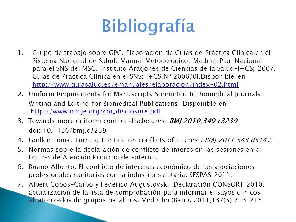 Bibliografía 1.Grupo de trabajo sobre GPC. Elaboración de Guías de Práctica Clínica en el Sistema Nacional de Salud. Manual Metodológico. Madrid: Plan