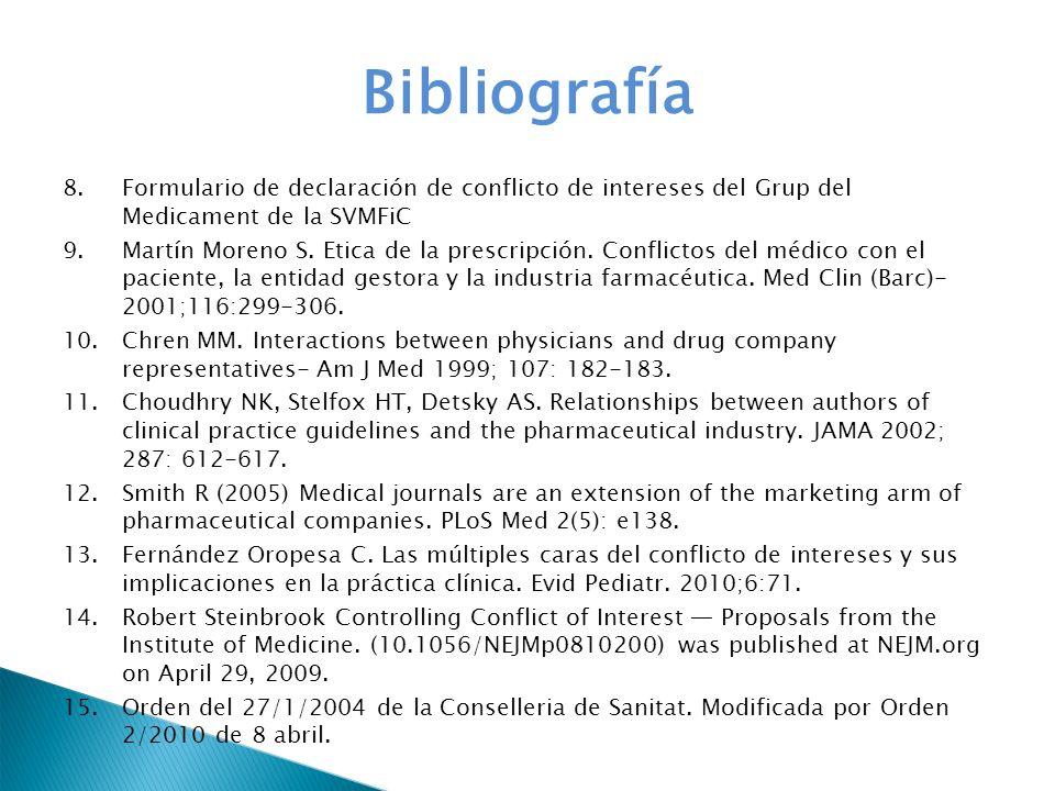 Bibliografía 8.Formulario de declaración de conflicto de intereses del Grup del Medicament de la SVMFiC 9.Martín Moreno S. Etica de la prescripción. C
