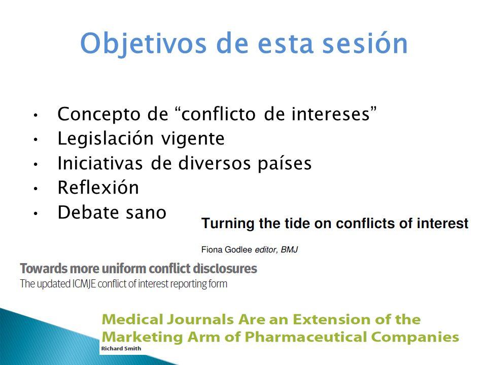 Objetivos de esta sesión Concepto de conflicto de intereses Legislación vigente Iniciativas de diversos países Reflexión Debate sano