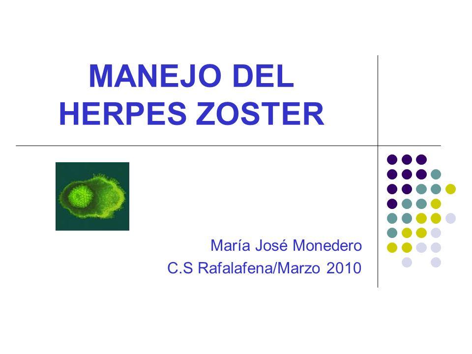 MANEJO DEL HERPES ZOSTER María José Monedero C.S Rafalafena/Marzo 2010