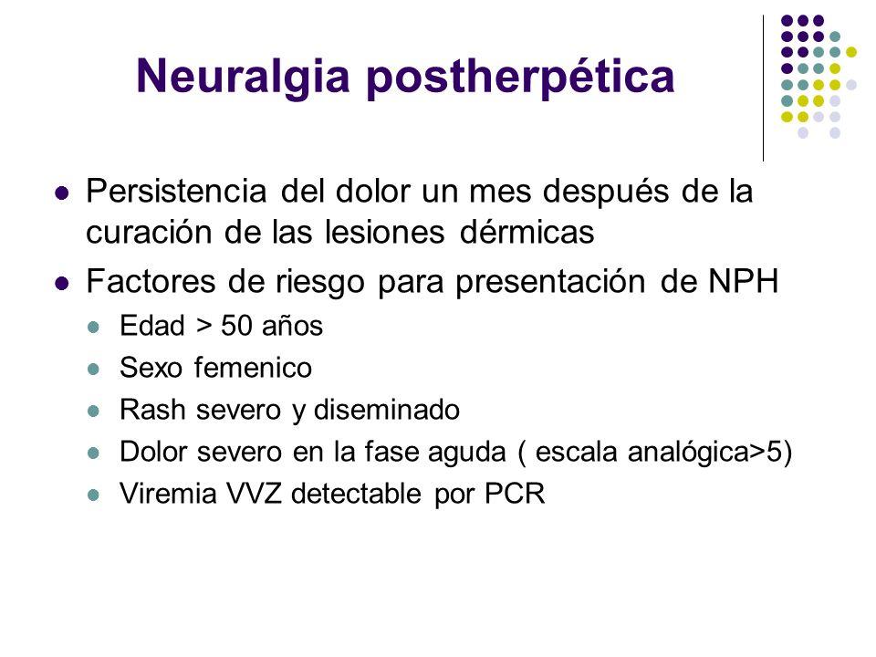 Neuralgia postherpética Persistencia del dolor un mes después de la curación de las lesiones dérmicas Factores de riesgo para presentación de NPH Edad