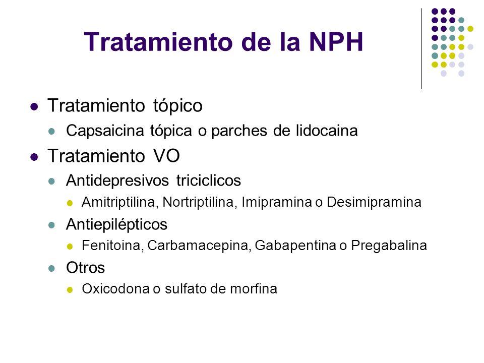 Tratamiento de la NPH Tratamiento tópico Capsaicina tópica o parches de lidocaina Tratamiento VO Antidepresivos triciclicos Amitriptilina, Nortriptili