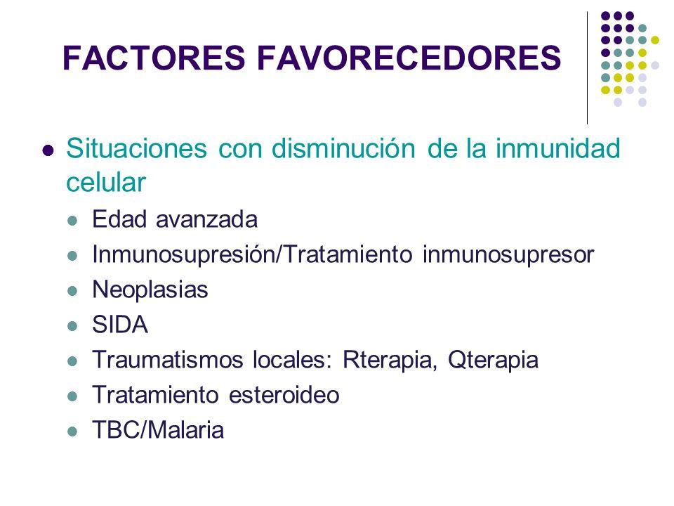 FACTORES FAVORECEDORES Situaciones con disminución de la inmunidad celular Edad avanzada Inmunosupresión/Tratamiento inmunosupresor Neoplasias SIDA Tr