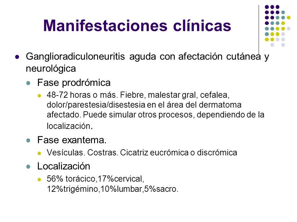 Manifestaciones clínicas Ganglioradiculoneuritis aguda con afectación cutánea y neurológica Fase prodrómica 48-72 horas o más. Fiebre, malestar gral,