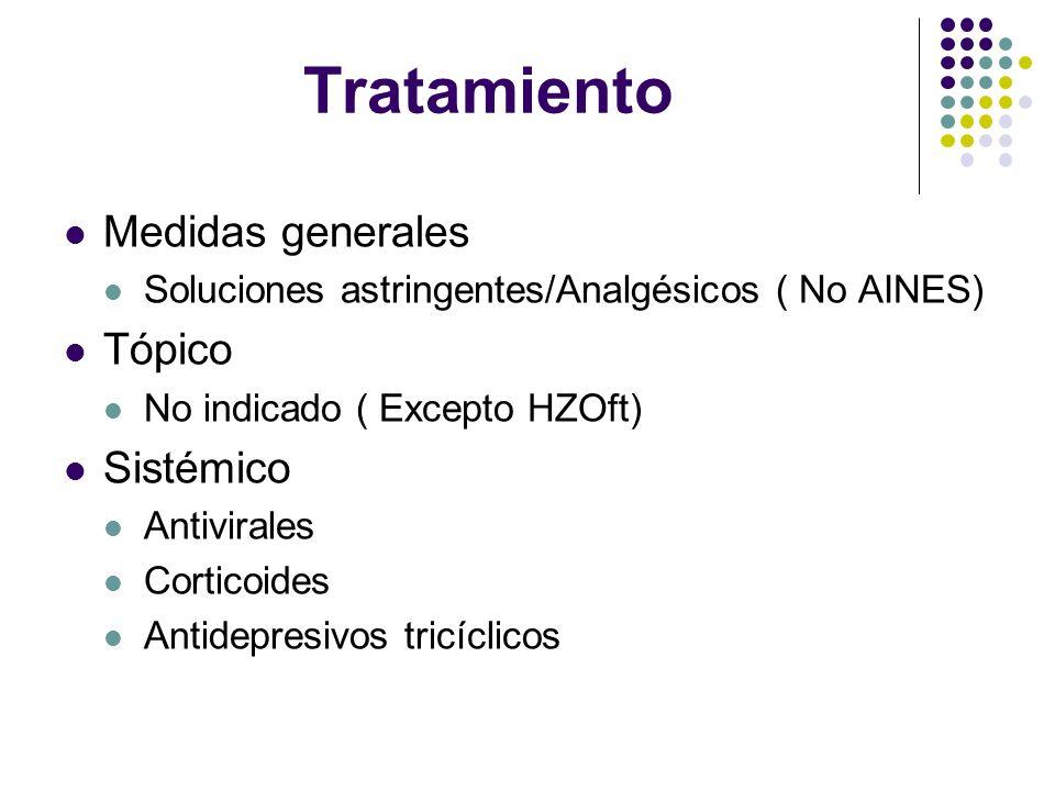 Tratamiento Medidas generales Soluciones astringentes/Analgésicos ( No AINES) Tópico No indicado ( Excepto HZOft) Sistémico Antivirales Corticoides An