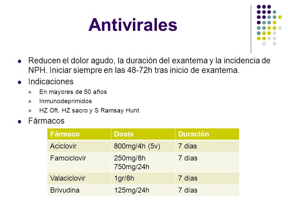 Antivirales Reducen el dolor agudo, la duración del exantema y la incidencia de NPH. Iniciar siempre en las 48-72h tras inicio de exantema. Indicacion