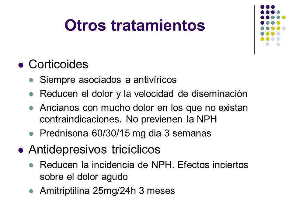 Otros tratamientos Corticoides Siempre asociados a antivíricos Reducen el dolor y la velocidad de diseminación Ancianos con mucho dolor en los que no