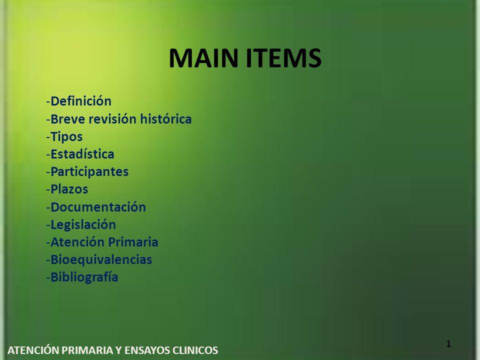 MAIN ITEMS -Definición -Breve revisión histórica -Tipos -Estadística -Participantes -Plazos -Documentación -Legislación -Atención Primaria -Bioequival