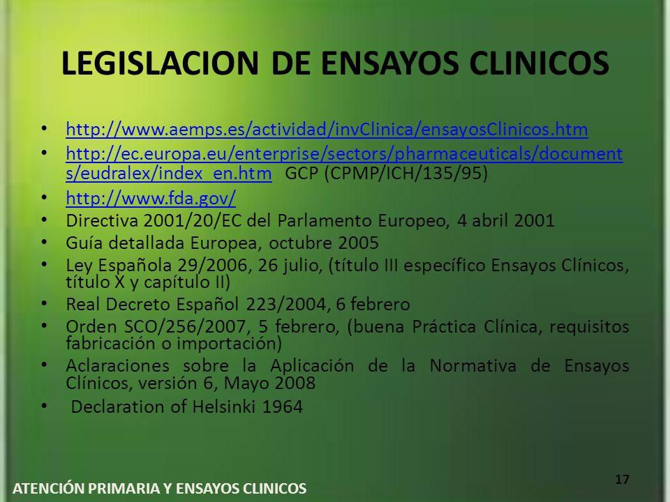 LEGISLACION DE ENSAYOS CLINICOS http://www.aemps.es/actividad/invClinica/ensayosClinicos.htm http://ec.europa.eu/enterprise/sectors/pharmaceuticals/do