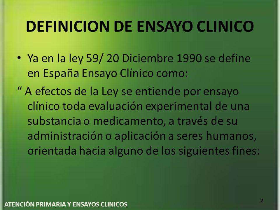 DEFINICION DE ENSAYO CLINICO Ya en la ley 59/ 20 Diciembre 1990 se define en España Ensayo Clínico como: A efectos de la Ley se entiende por ensayo cl