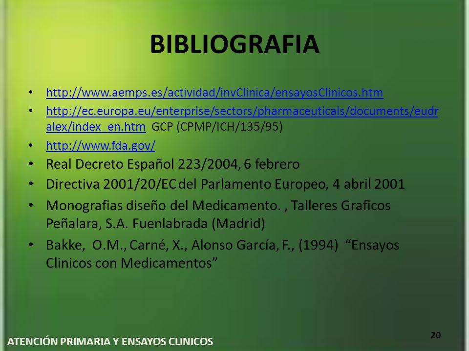 BIBLIOGRAFIA http://www.aemps.es/actividad/invClinica/ensayosClinicos.htm http://ec.europa.eu/enterprise/sectors/pharmaceuticals/documents/eudr alex/i