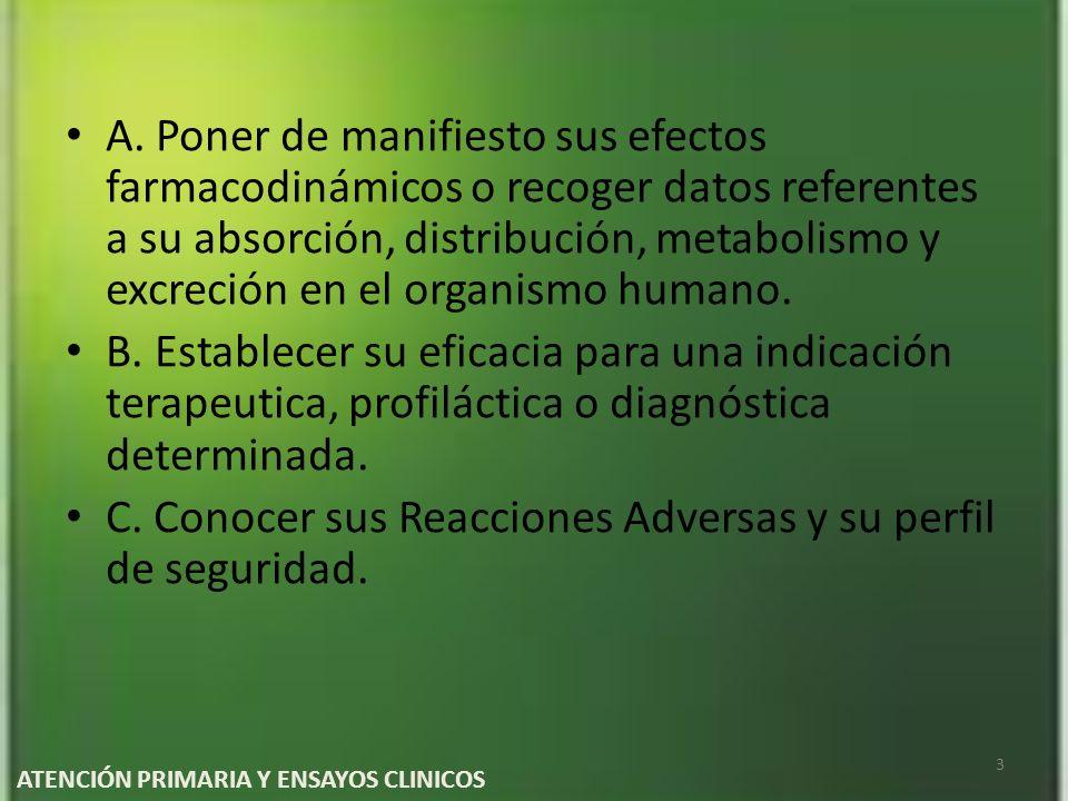 A. Poner de manifiesto sus efectos farmacodinámicos o recoger datos referentes a su absorción, distribución, metabolismo y excreción en el organismo h