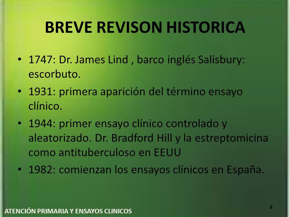 BREVE REVISON HISTORICA 1747: Dr. James Lind, barco inglés Salisbury: escorbuto. 1931: primera aparición del término ensayo clínico. 1944: primer ensa