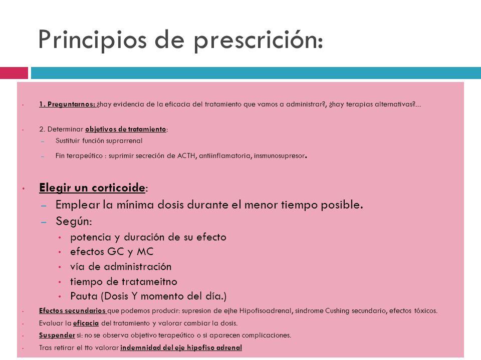 Principios de prescrición: 1. Preguntarnos: ¿hay evidencia de la eficacia del tratamiento que vamos a administrar?, ¿hay terapias alternativas?... 2.