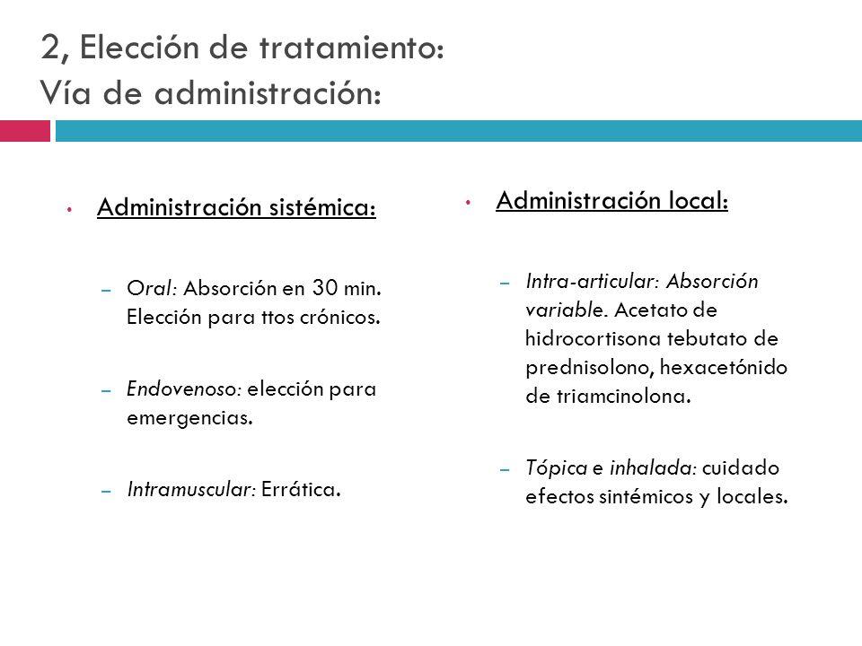 2, Elección de tratamiento: Vía de administración: Administración sistémica: – Oral: Absorción en 30 min. Elección para ttos crónicos. – Endovenoso: e