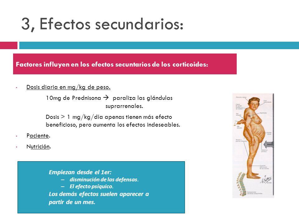 3, Efectos secundarios: Dosis diaria en mg/kg de peso. 10mg de Prednisona paraliza las glándulas suprarrenales. Dosis > 1 mg/kg/día apenas tienen más