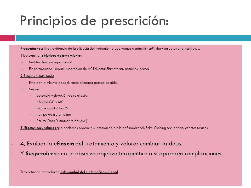 Principios de prescrición: Preguntarnos: ¿hay evidencia de la eficacia del tratamiento que vamos a administrar?, ¿hay terapias alternativas?... 1,Dete