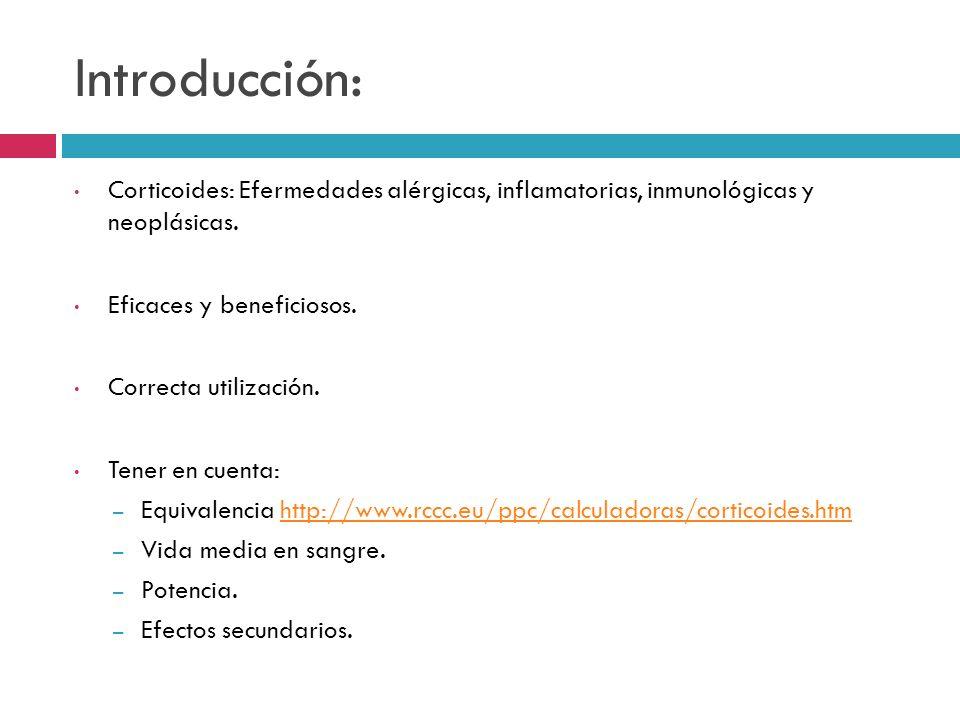 Introducción: Corticoides: Efermedades alérgicas, inflamatorias, inmunológicas y neoplásicas. Eficaces y beneficiosos. Correcta utilización. Tener en