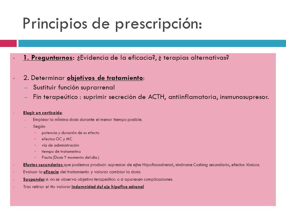 Principios de prescripción: 1. Preguntarnos: ¿Evidencia de la eficacia?, ¿ terapias alternativas? 2. Determinar objetivos de tratamiento: – Sustituir