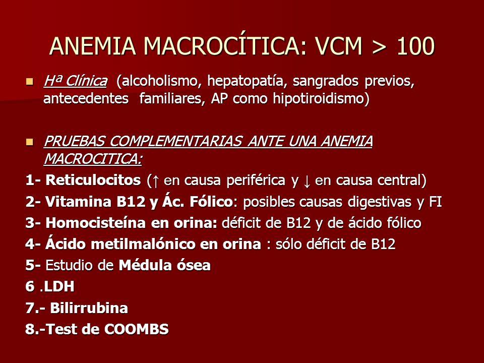 ANEMIA MACROCÍTICA: VCM > 100 Hª Clínica (alcoholismo, hepatopatía, sangrados previos, antecedentes familiares, AP como hipotiroidismo) Hª Clínica (al