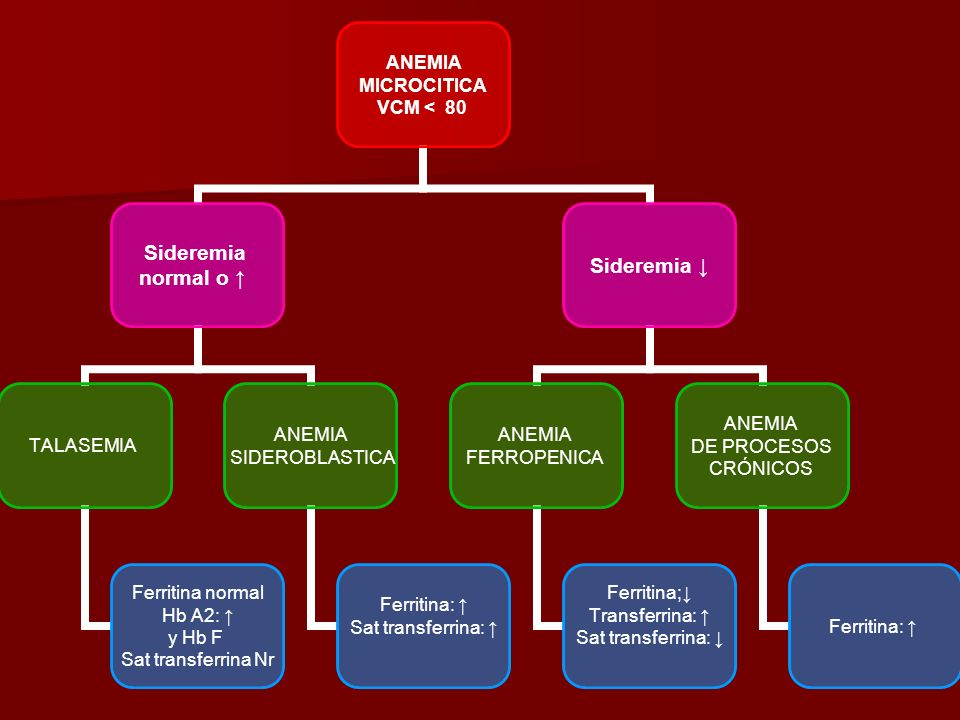 ANEMIA MICROCITICA VCM < 80 Sideremia normal o TALASEMIA Ferritina normal Hb A2: y Hb F Sat transferrina Nr ANEMIA SIDEROBLASTICA Ferritina: Sat trans