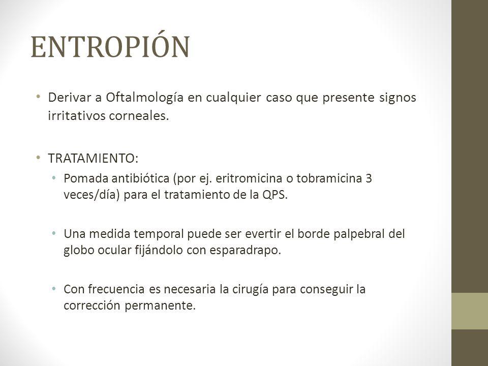 ENTROPIÓN Derivar a Oftalmología en cualquier caso que presente signos irritativos corneales. TRATAMIENTO: Pomada antibiótica (por ej. eritromicina o