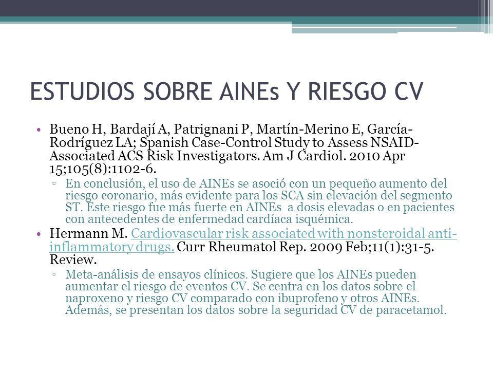 ESTUDIOS SOBRE AINEs Y RIESGO CV Bueno H, Bardají A, Patrignani P, Martín-Merino E, García- Rodríguez LA; Spanish Case-Control Study to Assess NSAID-