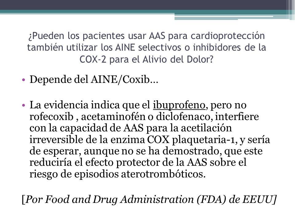 ¿Pueden los pacientes usar AAS para cardioprotección también utilizar los AINE selectivos o inhibidores de la COX-2 para el Alivio del Dolor? Depende