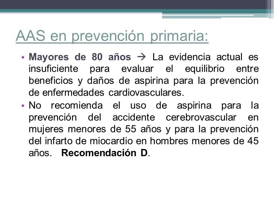 AAS en prevención primaria: Mayores de 80 años La evidencia actual es insuficiente para evaluar el equilibrio entre beneficios y daños de aspirina par