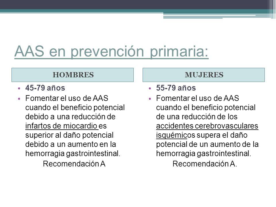 AAS en prevención primaria: HOMBRESMUJERES 45-79 años Fomentar el uso de AAS cuando el beneficio potencial debido a una reducción de infartos de mioca