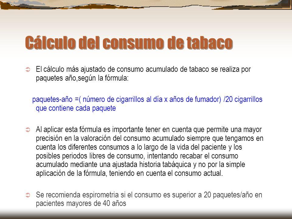 Cálculo del consumo de tabaco El cálculo más ajustado de consumo acumulado de tabaco se realiza por paquetes año,según la fórmula: paquetes-año =( núm