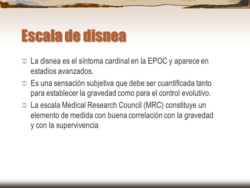 Escala de disnea La disnea es el síntoma cardinal en la EPOC y aparece en estadios avanzados. Es una sensación subjetiva que debe ser cuantificada tan