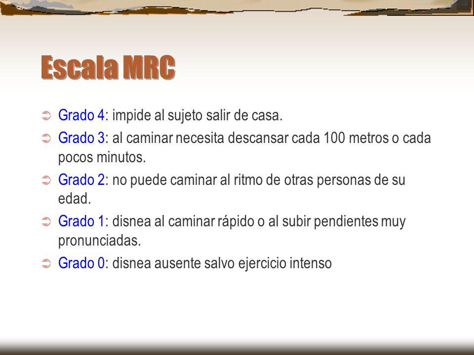 Escala MRC Grado 4: impide al sujeto salir de casa. Grado 3: al caminar necesita descansar cada 100 metros o cada pocos minutos. Grado 2: no puede cam