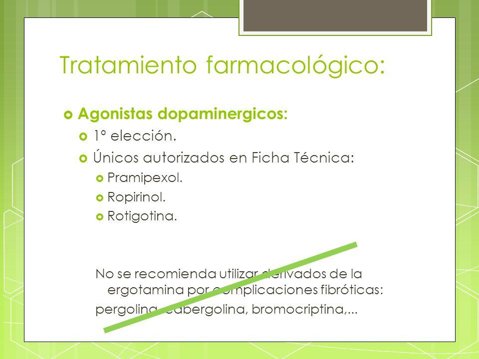 Tratamiento farmacológico: Agonistas dopaminergicos: 1º elección. Únicos autorizados en Ficha Técnica: Pramipexol. Ropirinol. Rotigotina. No se recomi