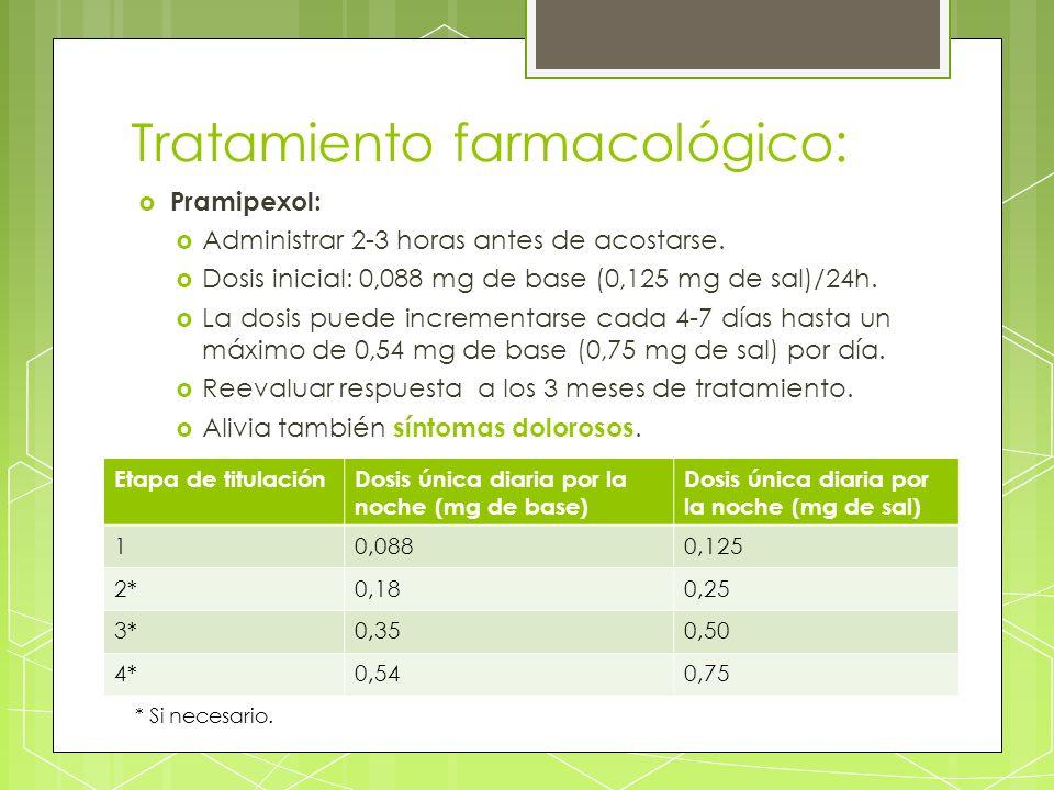 Tratamiento farmacológico: Pramipexol: Administrar 2-3 horas antes de acostarse. Dosis inicial: 0,088 mg de base (0,125 mg de sal)/24h. La dosis puede