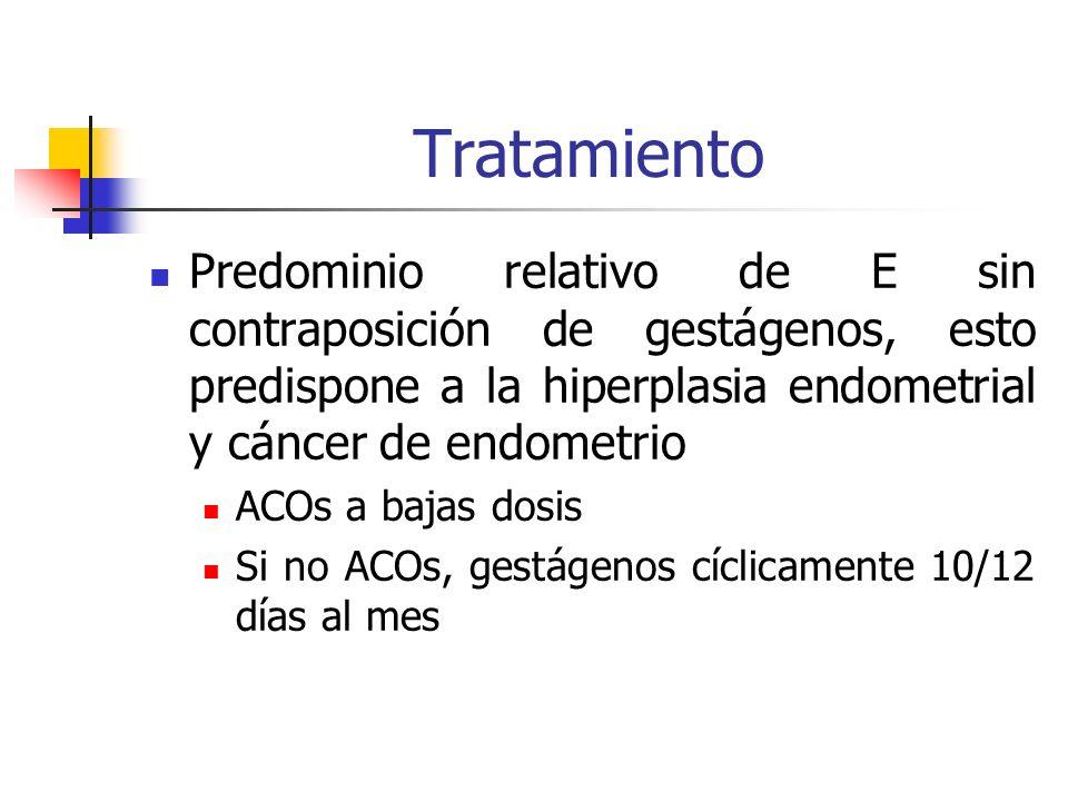 Tratamiento Predominio relativo de E sin contraposición de gestágenos, esto predispone a la hiperplasia endometrial y cáncer de endometrio ACOs a bajas dosis Si no ACOs, gestágenos cíclicamente 10/12 días al mes