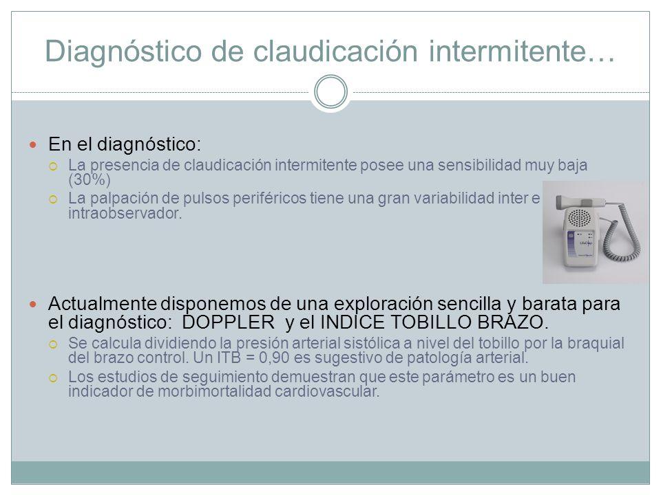 Diagnóstico de claudicación intermitente… En el diagnóstico: La presencia de claudicación intermitente posee una sensibilidad muy baja (30%) La palpac