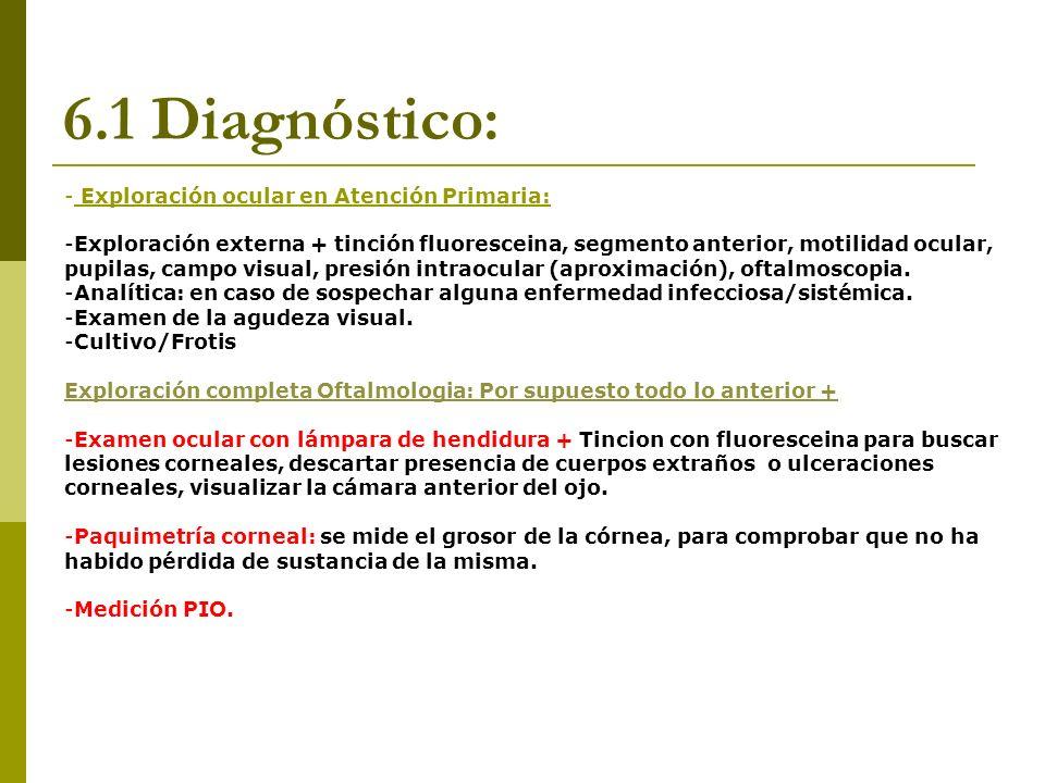 6.1 Diagnóstico: - Exploración ocular en Atención Primaria: -Exploración externa + tinción fluoresceina, segmento anterior, motilidad ocular, pupilas,