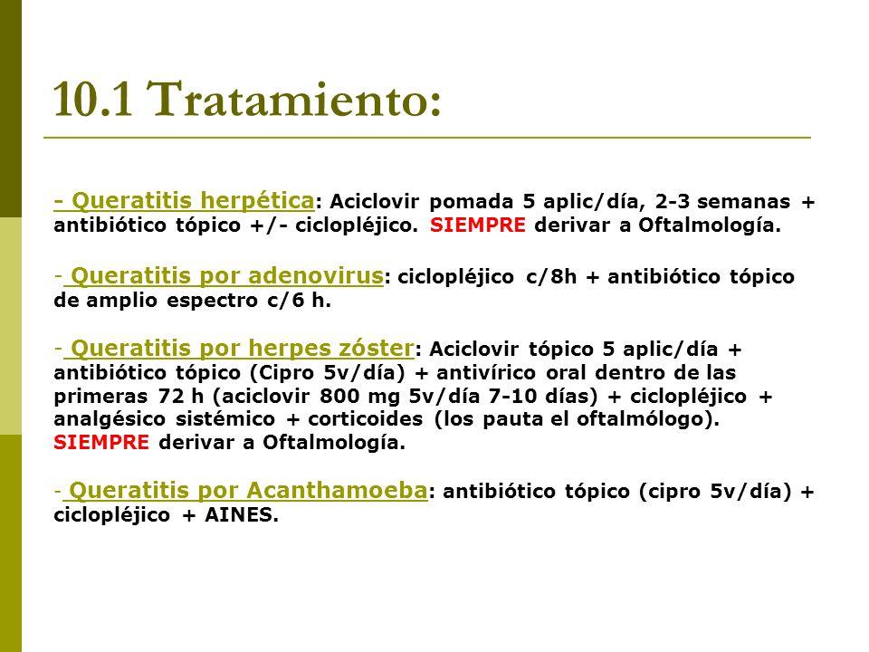 10.1 Tratamiento: - Queratitis herpética : Aciclovir pomada 5 aplic/día, 2-3 semanas + antibiótico tópico +/- ciclopléjico. SIEMPRE derivar a Oftalmol