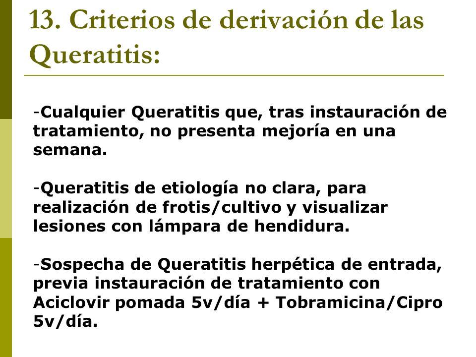 13. Criterios de derivación de las Queratitis: -Cualquier Queratitis que, tras instauración de tratamiento, no presenta mejoría en una semana. -Querat