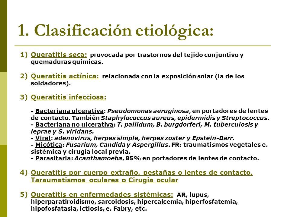 1. Clasificación etiológica: 1)Queratitis seca: provocada por trastornos del tejido conjuntivo y quemaduras químicas. 2)Queratitis actínica: relaciona