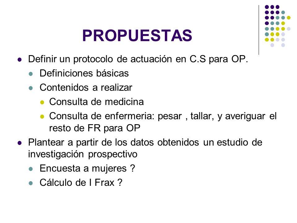 PROPUESTAS Definir un protocolo de actuación en C.S para OP. Definiciones básicas Contenidos a realizar Consulta de medicina Consulta de enfermeria: p